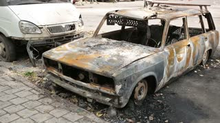 Burned Car in Donbass WAR