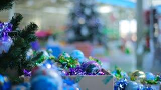 Christmas Tree and bulbs at store