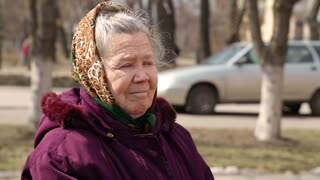 DONETSK, UKRAINE- 06 April 2015: Portrait of an old gray-haired woman