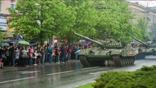 DONETSK, UKRAINE- 09 May 2015: column of tanks at the victory parade
