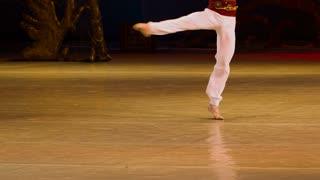 DONETSK, UKRAINE- 12 March 2016: Ballet. Man doing fuete