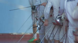 many fencers with rapiers before competition