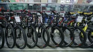 Mountain bikes in sports shop