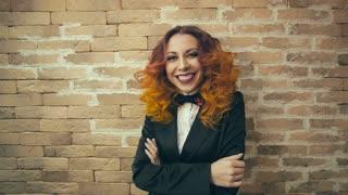 Portrait of Cheerful Redhead woman