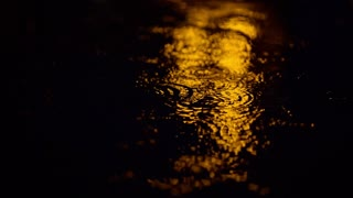 raindrops on a puddle at night