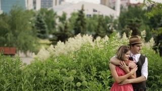 Stylish Couple in Love Hugging