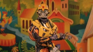 UKRAINE, DONETSK - 08 JANUARY 2013: Transformer Bumblebee Robot Model Dancing