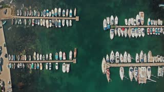 Aerial view boats on a dock