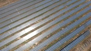 Aerial view industrial solar energy farm