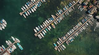 Aerial view of boats docked in port