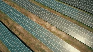 Aerial view of solar energy farm