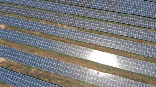 Blue solar farm aerial view