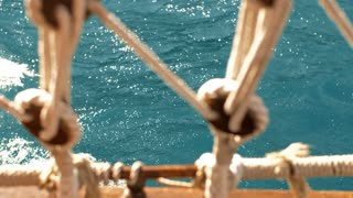 Boat sails through the sea