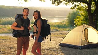 Couple traveling with backpacks