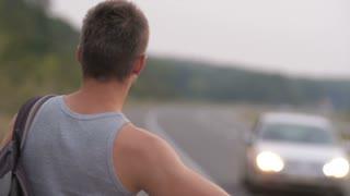 Hitchhiking travel man
