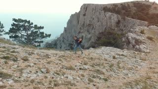 Man hiking aerial view