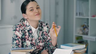 Woman with a pencil prepare for exam