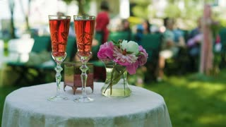 Wedding Ceremony Table with champagne and flowers