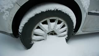 Wheel of a car in snow
