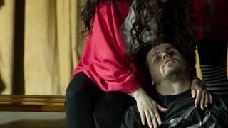 Woman Helping a Depressed Man