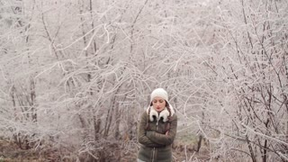 Woman Walking on a Winter Nature