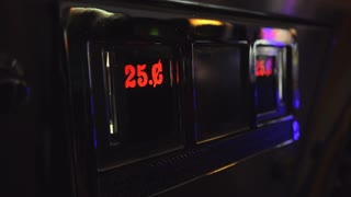 25 cent sign at classic arcade with flashing lights 4k