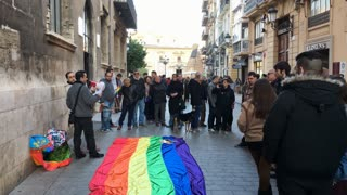 Activist group in downtown Valencia speaking for equal rights 4k
