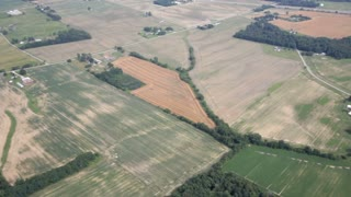 Aerial view of farm country