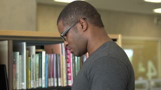 African american male at library