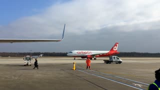 Airberlin aircraft on runway of Cologne airport in Germany 4k
