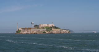 Alcatraz Island seen from ship 4k