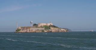 Alcatraz Island seen from ship 4k