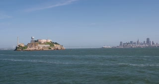Alcatraz with San Francisco city in background 4k