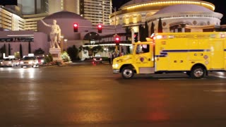 Ambulance on Las Vegas Blvd at night