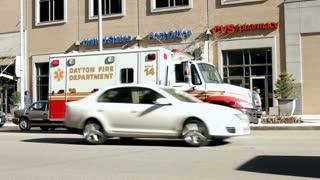 Ambulance on main street in downtown dayton