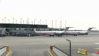 American Airline planes park at Terminal in Chicago
