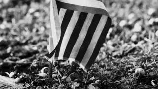 American flag in ground black and white