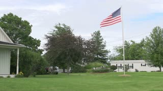 American Flag in yard of American Gothic House