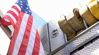 American flag on back of Firetruck Engine 4k