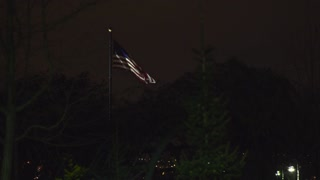 American flag waving at night lit up by light between trees 4k