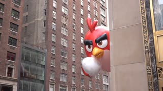 Angry bird balloon in 89th annual Macys Parade 4k