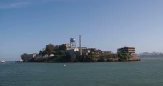 Approaching Alcatraz Island by boat 4k