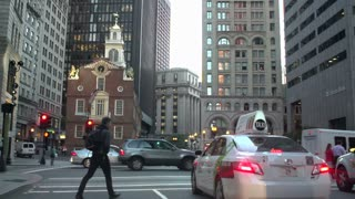 Approaching downtown Boston intersection in slow motion
