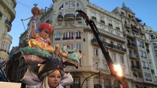 Arabian Nights style Fallas in downtown Valencia for celebration 4k
