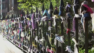 Arlington Street Church fence with Marathon bombing memorial