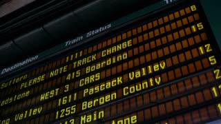 Arrival and departure board at train station