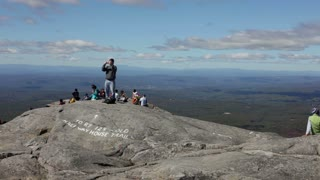 At the top of Mount Monadnock in New Hampshire