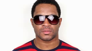 Attractive African American Male with Sunglasses on white