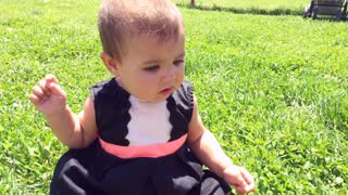 Baby girl sitting and playing in grass.
