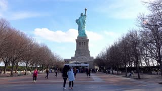 Back of Statue of Liberty on Island 4k